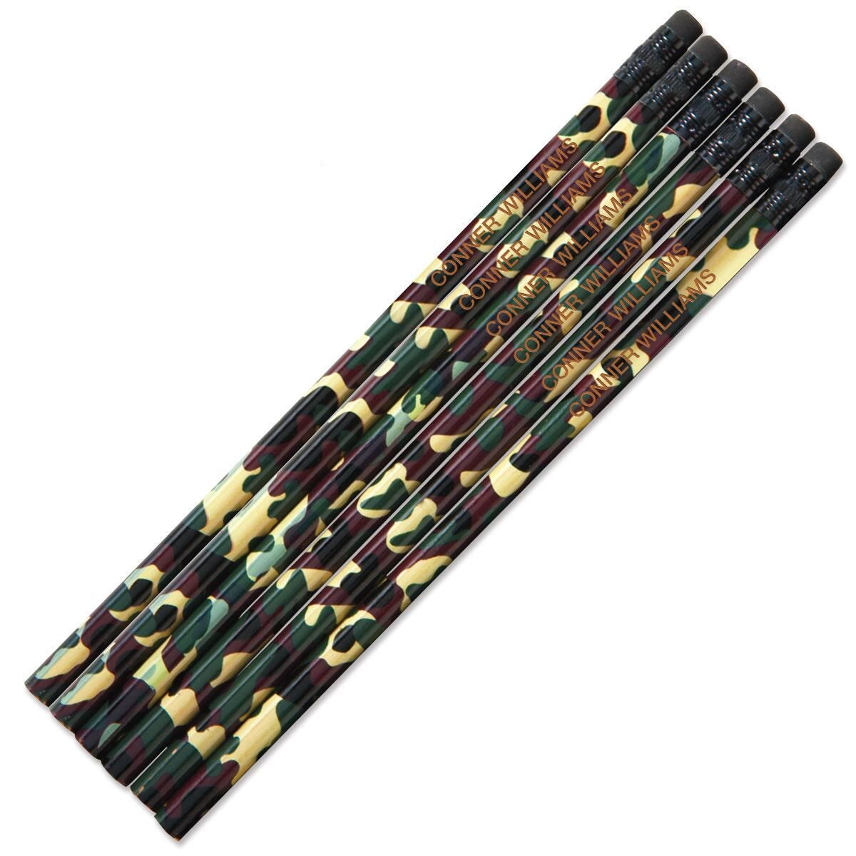 #2 Personalized Hardwood Pencils - Camouflage