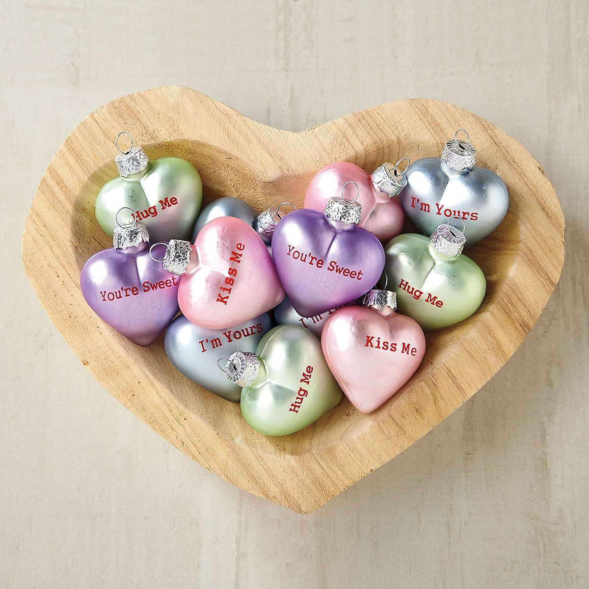 Candy Glass Heart Ornaments