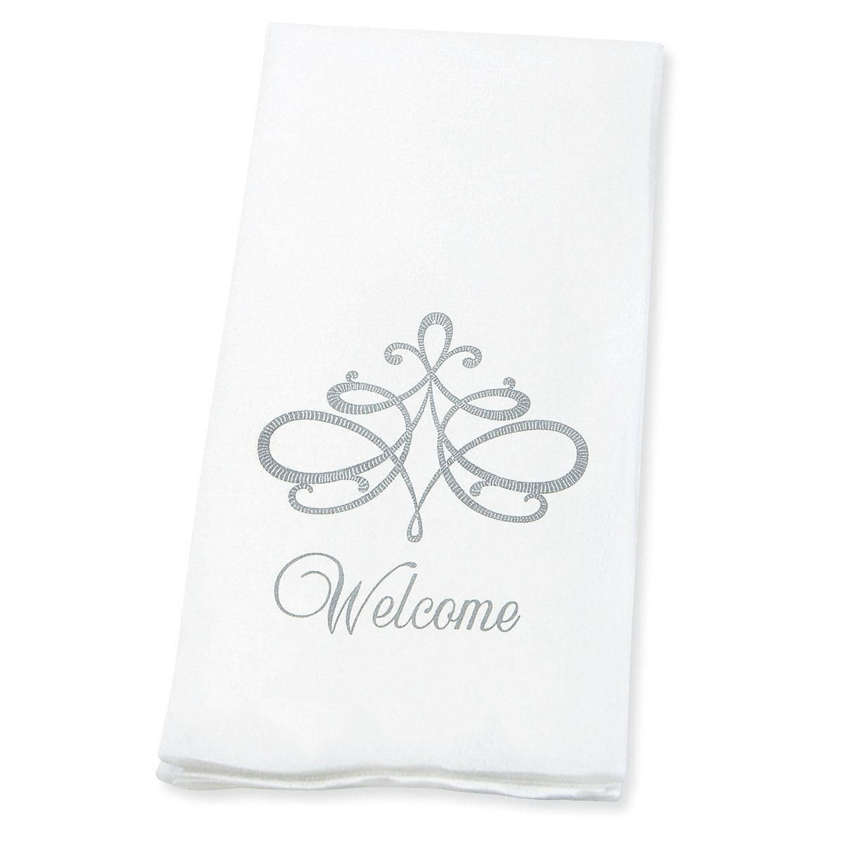 Welcome Silver Scroll Disposable Hand Towels