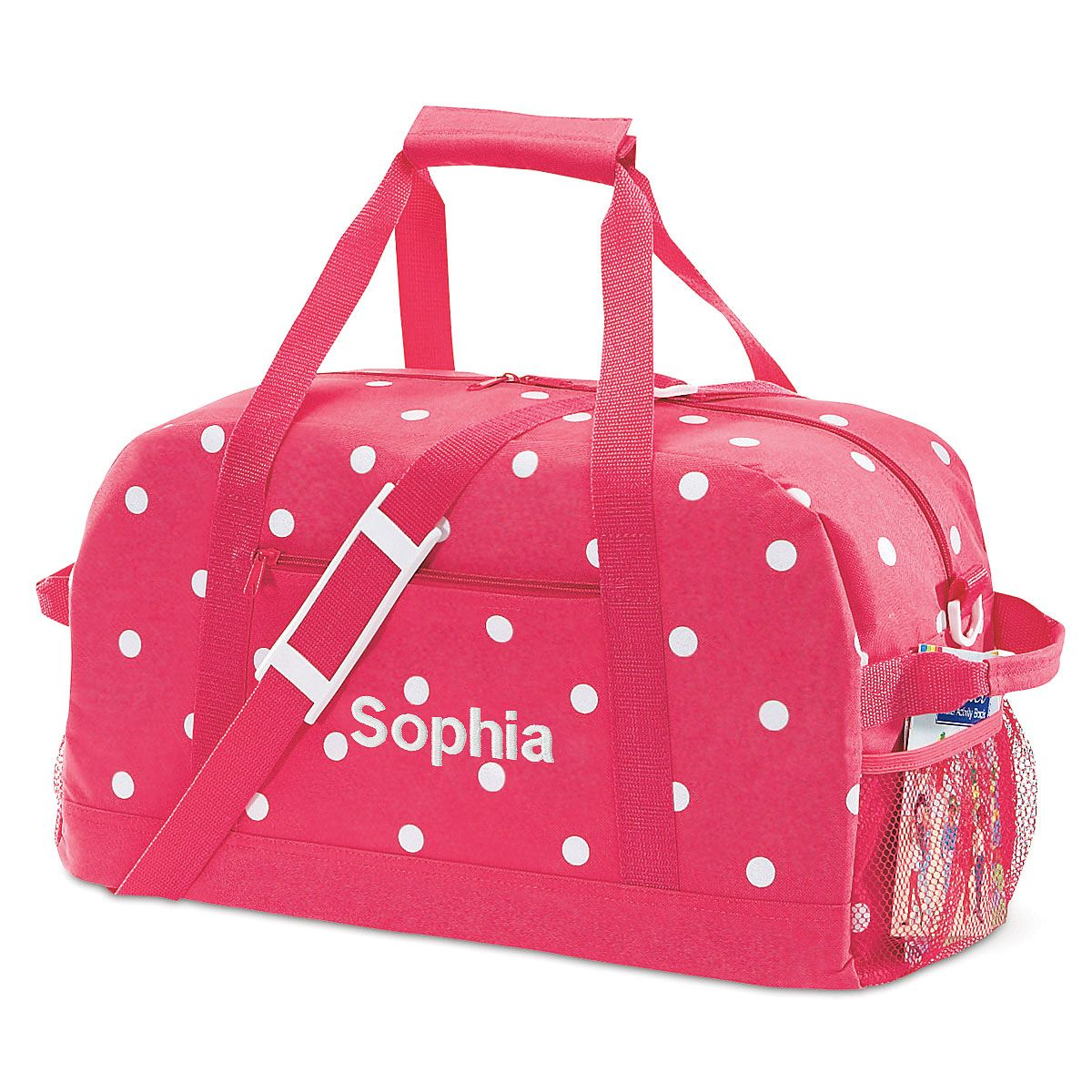 """Pink with White Dots 19"""" Duffel Bag"""