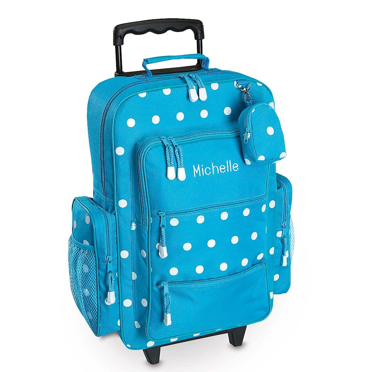 Turquoise Polka-Dot Rolling Luggage