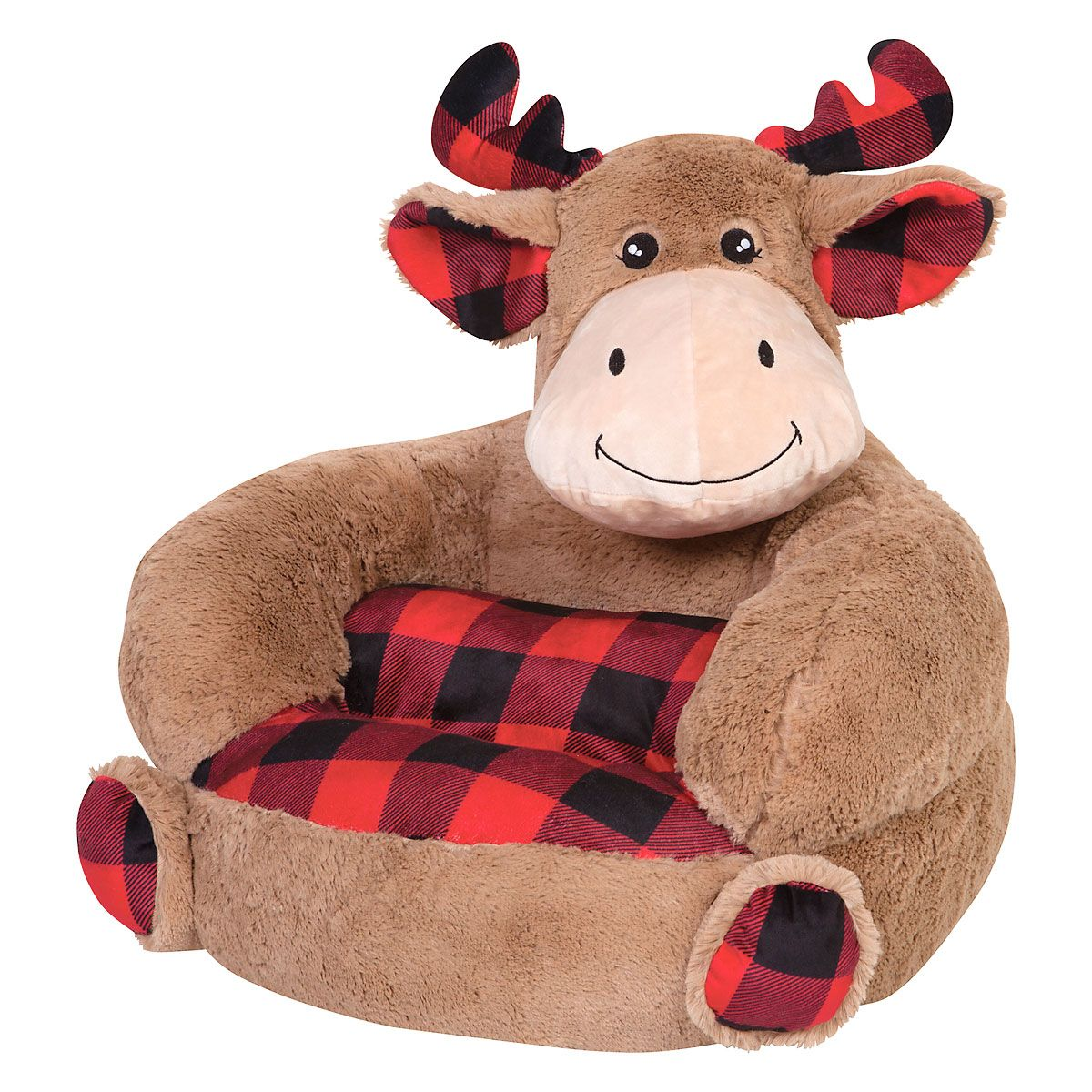 Children's Moose Buffalo Plaid Plush Character Chair