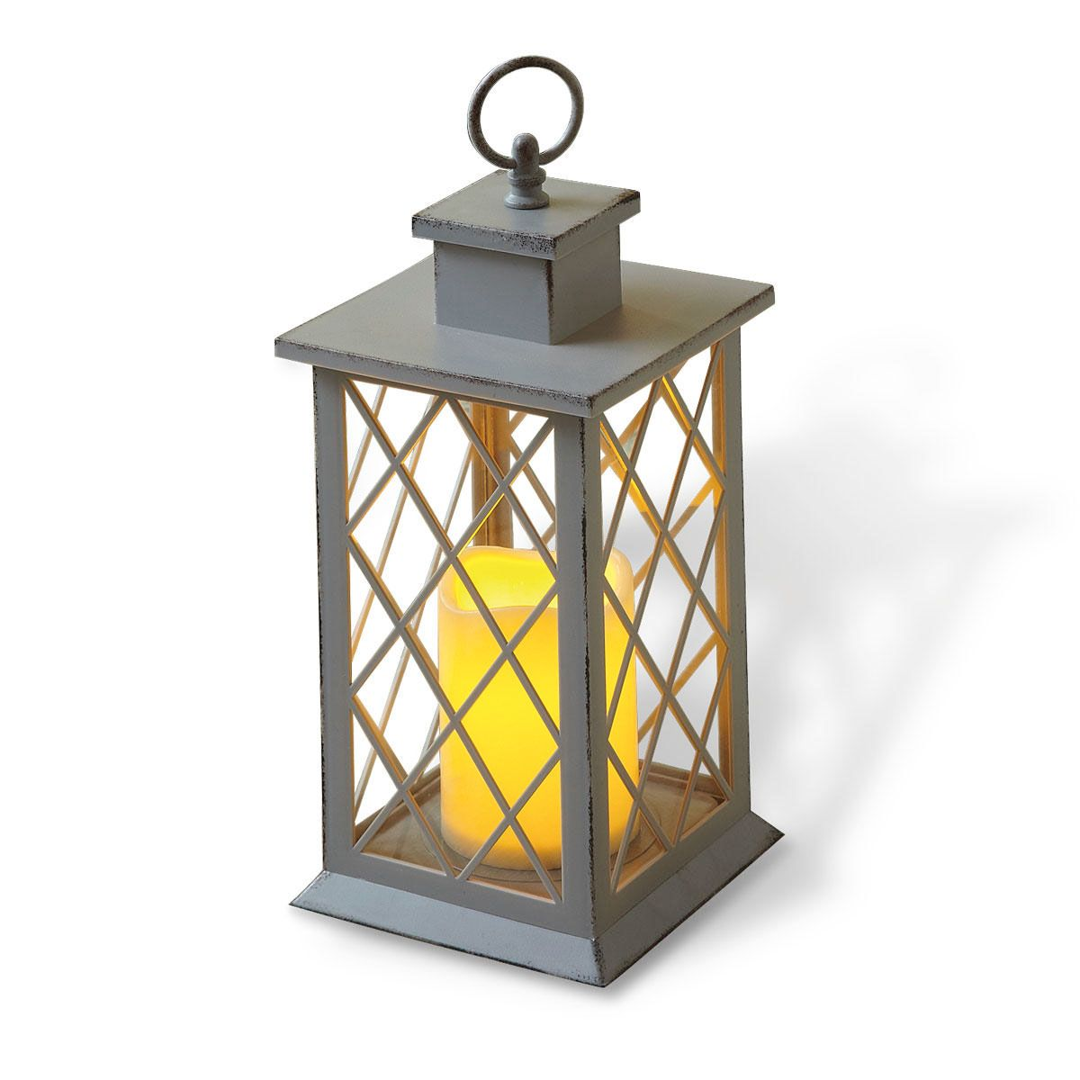 Light Grey LED Lantern with Cross Window