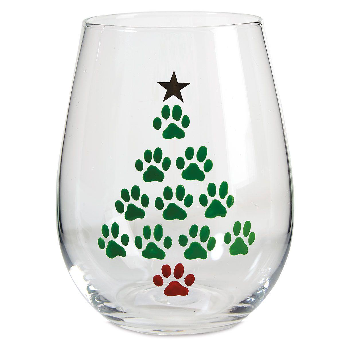 Hand Painted Tree Stemless Wine Glass