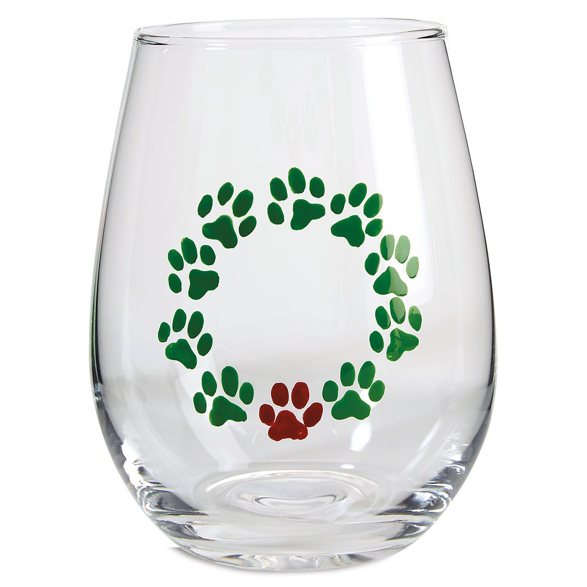 Hand Painted Wreath Stemless Wine Glass