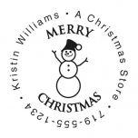 Snowman Round Address Stamp