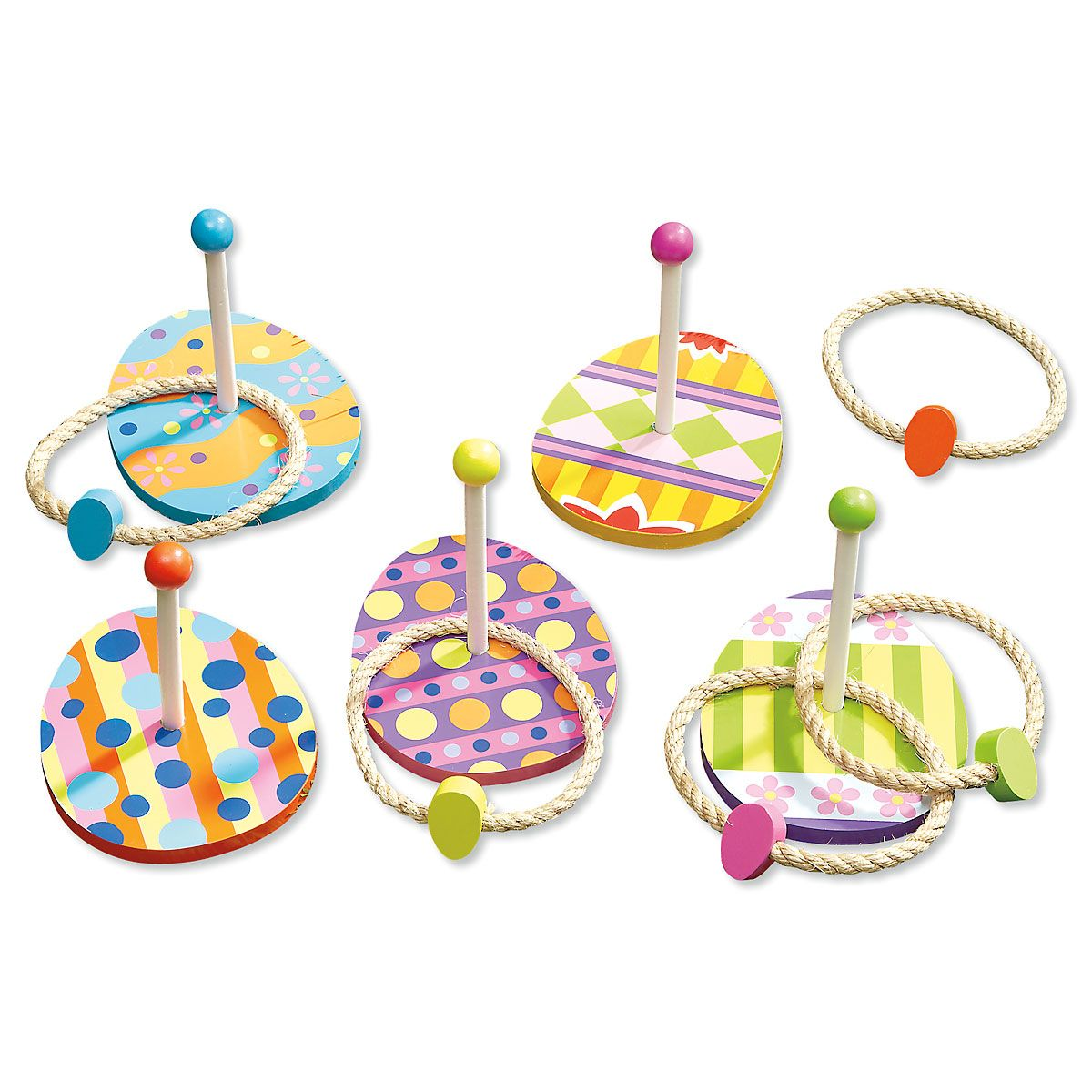 Easter Eggs Wooden Ring Toss Game