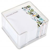 Personalized Aubrey Floral Note Sheets in a Cube