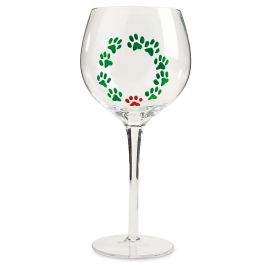 Hand Painted Wreath Wine Glass