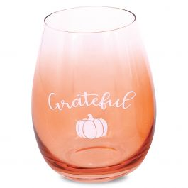 Fall Grateful Stemless Wine Glasses