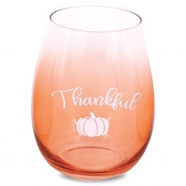 Fall Thankful Stemless Wine Glass