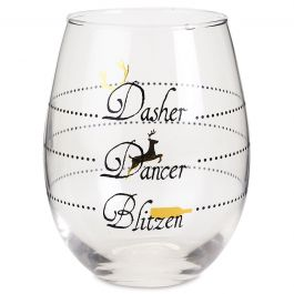 Holiday Dasher Stemless Wine Glasses