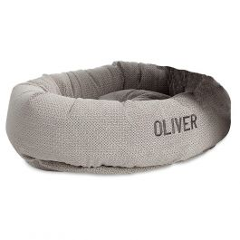 Round Medium Lounger Silver Treats Dog Bed by Bowsers Pet Products