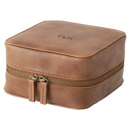 Personalized Faux Leather Tech Travel Case, Suede Brown - Monogram
