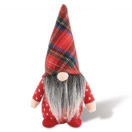 Red Plaid Hat Christmas Gnome Sitter