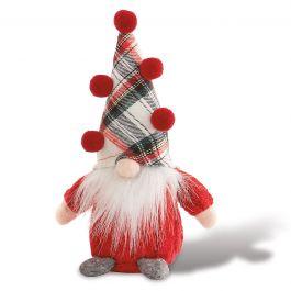 White Plaid Hat Gnome Sitter