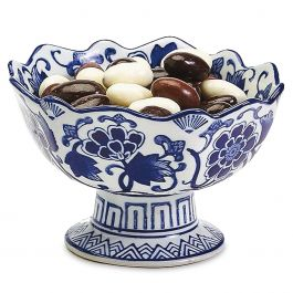 Blue & White Flowers Scalloped Footed Bowls