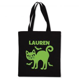 Personalized Cat Glow-in-the-Dark Halloween Treat Bag