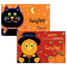Cat and Turkey Reversible Autumn Place Mats