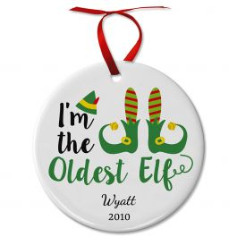 Personalized Oldest Elf Ceramic Ornament