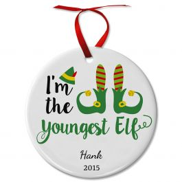 Personalized Youngest Elf Ceramic Ornament