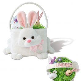 Pink Personalized Plush Bunny Basket