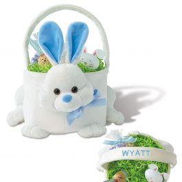 Blue Personalized Plush Bunny Basket