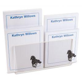 Horse Pattern Notepad Set & Acrylic Holder