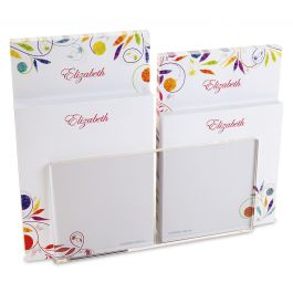 Color Swirl Notepad Set & Acrylic Holder