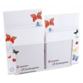 Delicate Butterflies Notepad Set & Acrylic Holder