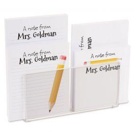 Yellow Pencil Notepad Set & Acrylic Holder