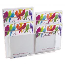 Flocked Together Notepad Set & Acrylic Holder