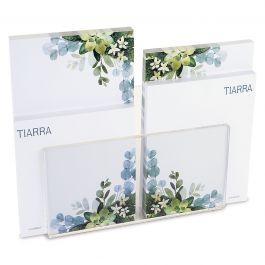 Olive Bloom Notepad Set & Acrylic Holder