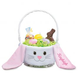 Bunny Face Personalized Easter Basket - Pink