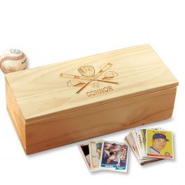 Crossed Bats Personalized Baseball Card Storage Box