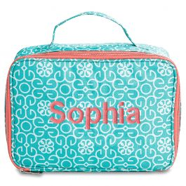 Personalized Lunch Bag Mint Damask - Name