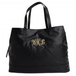 Personalized Black Overnight Travel Bag - Script Monogram