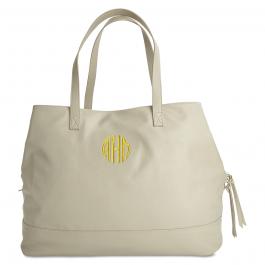 Personalized Crème Overnight Travel Bag - Circle Monogram
