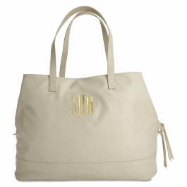 Personalized Crème Overnight Travel Bag - Fishtail Monogram