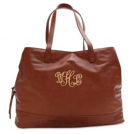 Personalized Camel Overnight Travel Bag - Script Monogram
