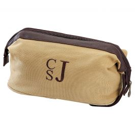 Personalized Khaki Shave Kit - Stacked Monogram