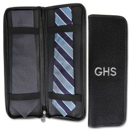 Personalized Black Suede Tie Travel Case - Initials