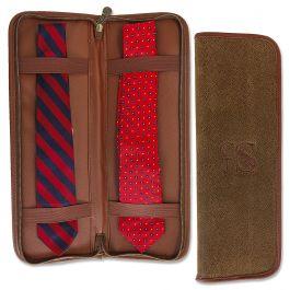 Personalized Brown Suede Tie Travel Case - Monogram