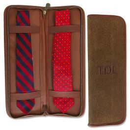 Personalized Brown Suede Tie Travel Case - Initials