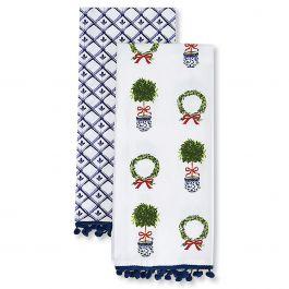 Set of 2 Christmas Chinoiseries Dish Towels