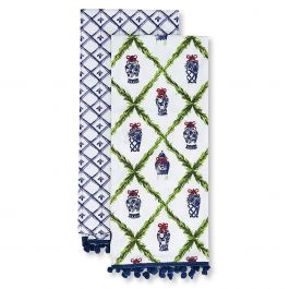 Set of 2 Blue Willow Chinoiseries Dish Towels