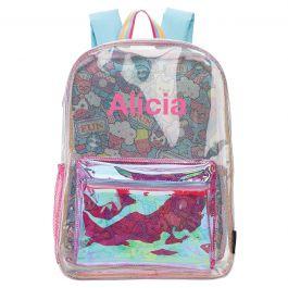 Personalized Clear Unicorn Emoji Fun Backpack - Name
