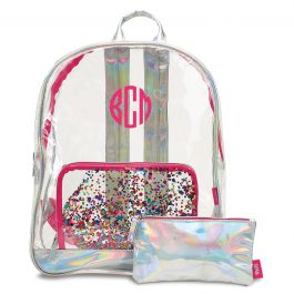 Personalized Clear Confetti Backpack - Monogram