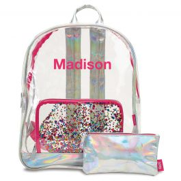 Personalized Clear Confetti Backpack - Name