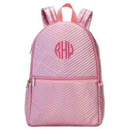 Personalized Pink Chevron Backpack - Monogram